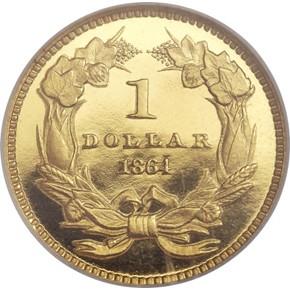1864 G$1 PF reverse