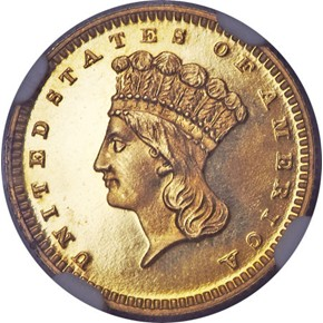 1868 G$1 PF obverse