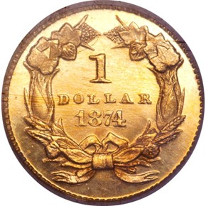 1874 G$1 PF reverse
