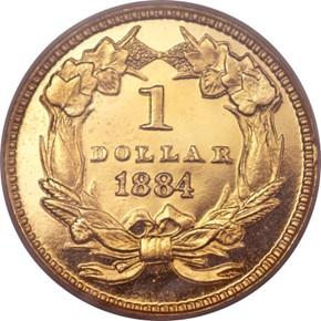 1884 G$1 PF reverse