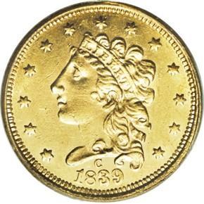 1839 C $2.5 MS obverse