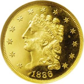 1836 HEAD OF 35 $2.5 PF obverse