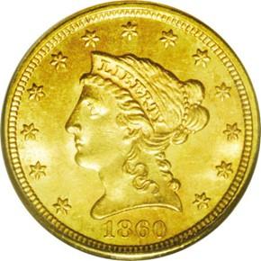 1860 TYPE 1 $2.5 MS obverse
