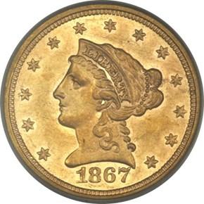 1867 $2.5 MS obverse