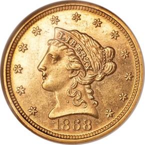 1868 $2.5 MS obverse