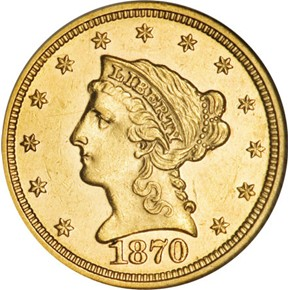 1870 $2.5 MS obverse