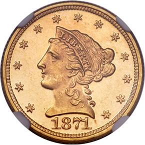 1871 $2.5 MS obverse