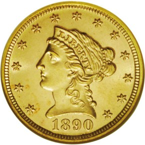 1890 $2.5 MS obverse