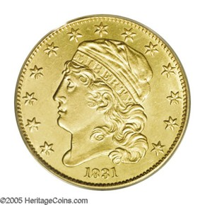 1831 $5 MS obverse