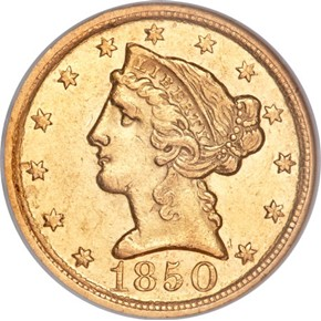 1850 D WEAK D $5 MS obverse