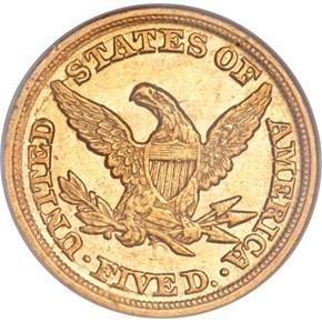 1850 D WEAK D $5 MS reverse