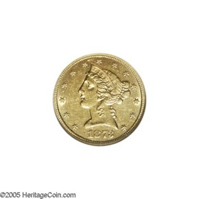 1873 S $5 MS obverse