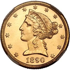 1890 $5 MS obverse