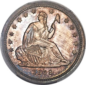 1838 SEATED 25C PF obverse