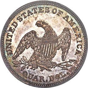 1838 SEATED 25C PF reverse