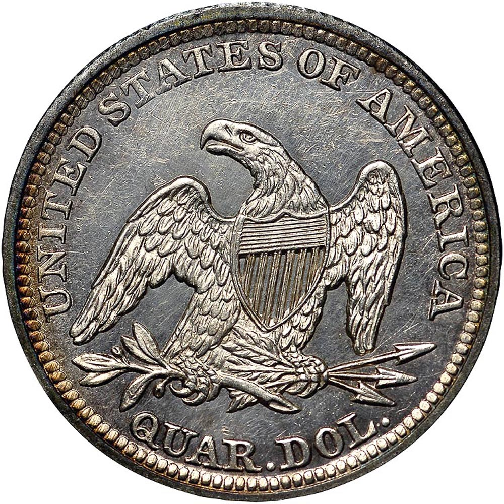 1842 Large Date 25C MS Seated Liberty Quarters | NGC