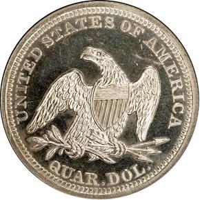 1842 SMALL DATE 25C PF reverse