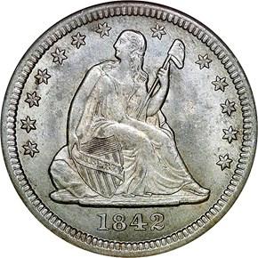 1842 O 25C MS obverse
