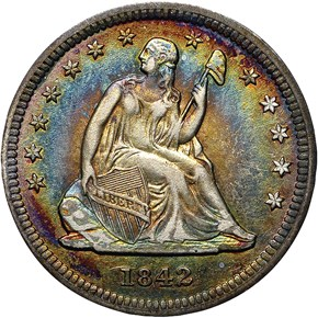 1842 O SMALL DATE 25C MS obverse