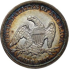 1842 O SMALL DATE 25C MS reverse