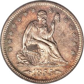 1855 S ARROWS 25C MS obverse