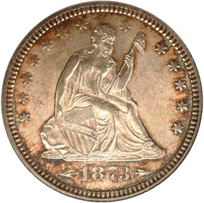 1873 ARROWS 25C MS obverse