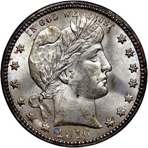 1916 BARBER 25C MS obverse