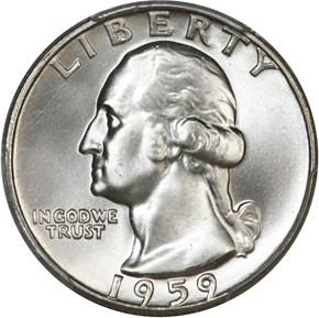 1959 D 25C MS obverse