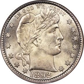 1892 O 25C MS obverse