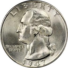 1947 D 25C MS obverse