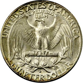 1949 D 25C MS reverse