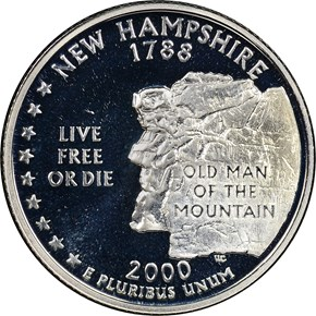 2000 S SILVER NEW HAMPSHIRE 25C PF obverse