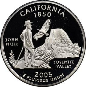 2005 S SILVER CALIFORNIA 25C PF obverse