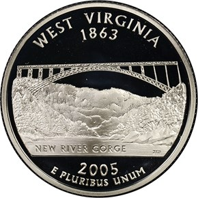 2005 S SILVER WEST VIRGINIA 25C PF obverse