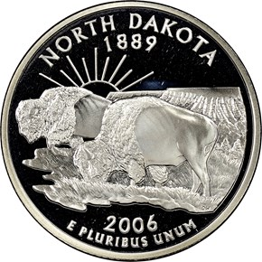 2006 S SILVER NORTH DAKOTA 25C PF obverse