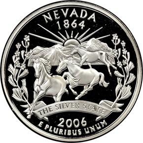 2006 S SILVER NEVADA 25C PF obverse