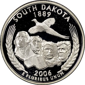 2006 S SILVER SOUTH DAKOTA 25C PF obverse