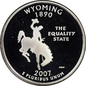 2007 S SILVER WYOMING 25C PF obverse