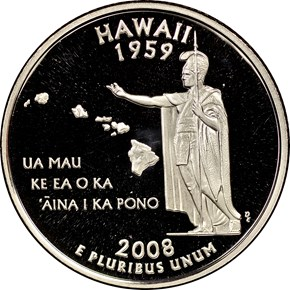 2008 S CLAD HAWAII 25C PF obverse