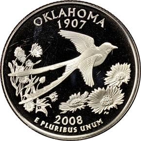 2008 S CLAD OKLAHOMA 25C PF obverse