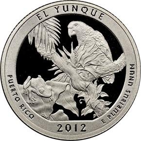 2012 S SILVER EL YUNQUE 25C PF obverse