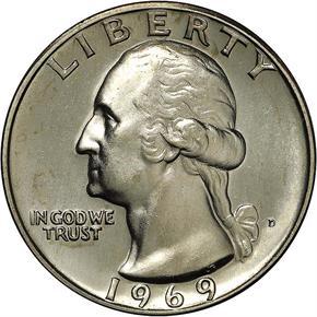 1969 D 25C MS obverse