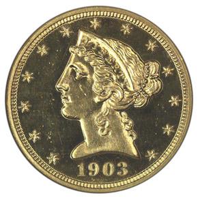 1903 $5 PF obverse