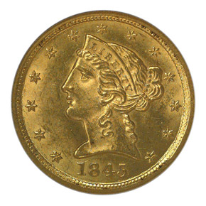 1845 O $5 MS obverse
