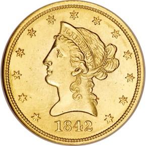 1842 $10 MS obverse