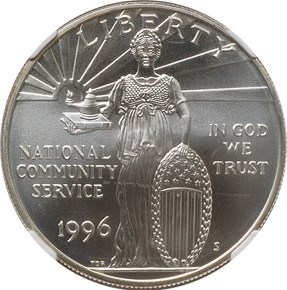 1996 S COMMUNITY SERVICE S$1 MS obverse