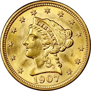 1907 $2.5 MS obverse