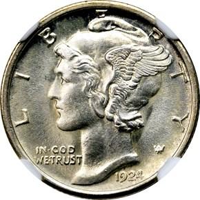 1924 S 10C MS obverse