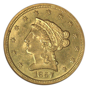 1857 O $2.5 MS obverse