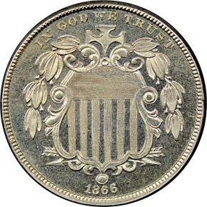 1866 RAYS 5C PF obverse